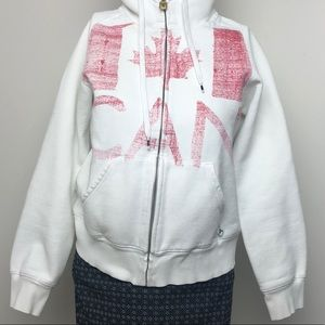 TNA • White Zip Up Hoodie Canadian • Size M